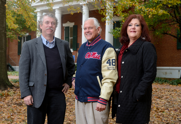 Ron and Becky Feder, at right, with Ted Ownby of UM's Center for the Study of Southern Culture