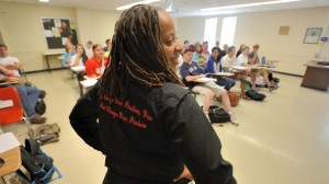 Torina Lewis teaches a mathematics class at the University of Mississippi. UM photo by Kevin Bain.