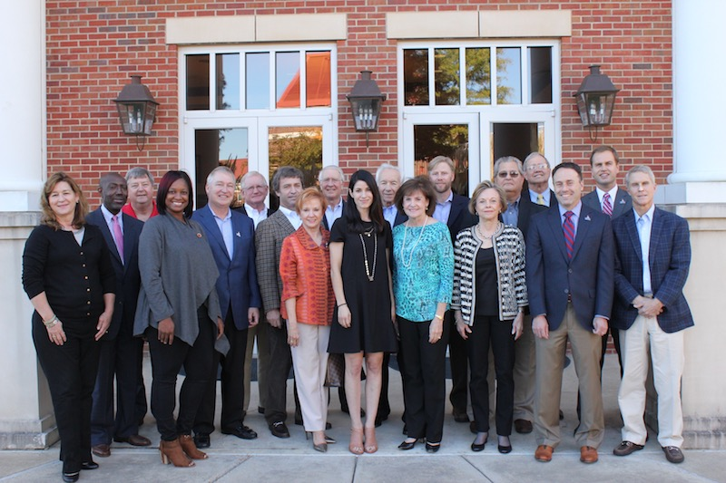 The University of Mississippi College of Liberal Arts Alumni Association Advisory Board: Marilyn Mulherin (left on first row), Torie Marion, Gail Russell, Nikki Neely Davis, Frances Smith, Kathryn Black, Dean Lee M. Cohen, Sanford Thomas, Dr. Steven Blake (second row), Steve McKinney, Dr. Mark Craig, Robert Harper, John Jacobson, Phillip Wiggins, Dr. Wayne Alexander, Dr. Clarke Holmes, Johnny McRight, Ron Wilson, Denson Hollis. Not pictured: Dr. Mike Edmonds, Missy Edwards, Russell Hensley, Ken Lackey, Dr. Alan Partin, Leah Thomson, Dr. Jesse White, Al Williams
