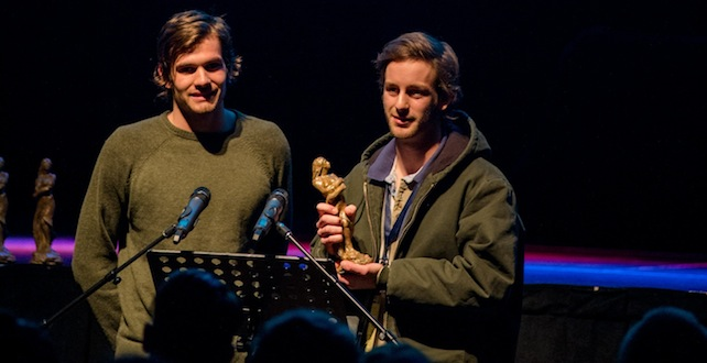 Houston Settle and Jordan Berger accept the Spirit of the Hoka Award at the 2013 Oxford Film Festival. Photo by Danny Klimetz