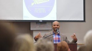 Derrick Harriell, assistant professor of English and African American Studies, speaks at the Oxford Conference for the Book.