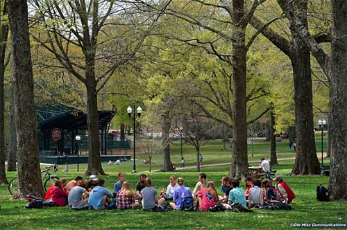 Dr. Fisher-Wirth teaches class in the Grove.