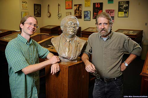 Artist William Beckwith (right) with his bust of B.B. King and Greg Johnson, Curator for UM's Blues Archive