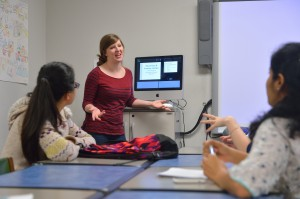 Research Assistant and TESL grad student Grace Ann Pierce,  teaches an ESL class, offered free to adult family members of international students, faculty and scholars at the University of Mississippi. Photo by Kevin Bain/Communications