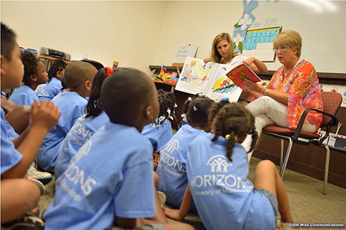 The First Lady of Mississippi, Deborah Bryant, wife of Governor Phil Bryant reads to the children in the Horizons program at The University of Mississippi. Photo by Kevin Bain/Ole Miss Communications