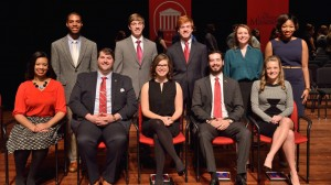 Ten University of Mississippi students were inducted into this year's Hall of Fame in a ceremony at the Gertrude C. Ford Center for the Performing Arts on Friday afternoon. Photo by Kevin Bain.