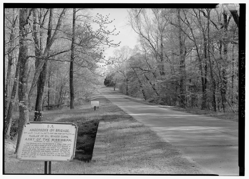 PAIR OF STONE CULVERTS OVER CORINTH ROAD AT SHILOH BRANCH WITH ANDERSON'S BRIGADE MARKER TO LEFT. VIEW N. - Shiloh National Military Park Tour Roads, Shiloh, Hardin County, TN