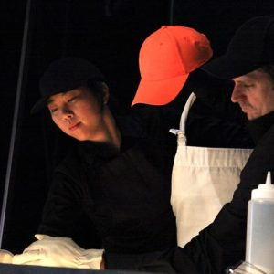 Lyon Hill and Kimi Maeda present Barbecue Puppet Theater at the 2012 SFA Symposium. Photo by Brandall Atkinson.