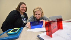 CMSE professional development coordinator Julie James (left) advises a Mississippi teacher during a professional development workshop.