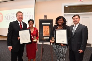 UM Chancellor Jeffrey Vitter (left) and McLean Institute Director Albert Nylander congratulate Barbara Wortham and Ann-Marie Herod on being named Sullivan Award honorees Wednesday at The Inn at Ole Miss.