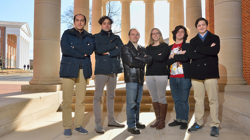 Members of the UM LIGO Team include (from left) Mohammad Afrough, graduate student; Camillo Cocchieri, visiting scholar; Marco Cavaglia associate professor of physics and astronomy; Katherine Dooley, assistant professor of physics and astronomy; and Jared Wofford and Hunter Gabbard, both undergraduate research assistants. Photo by Robert Jordan/Ole Miss Communications