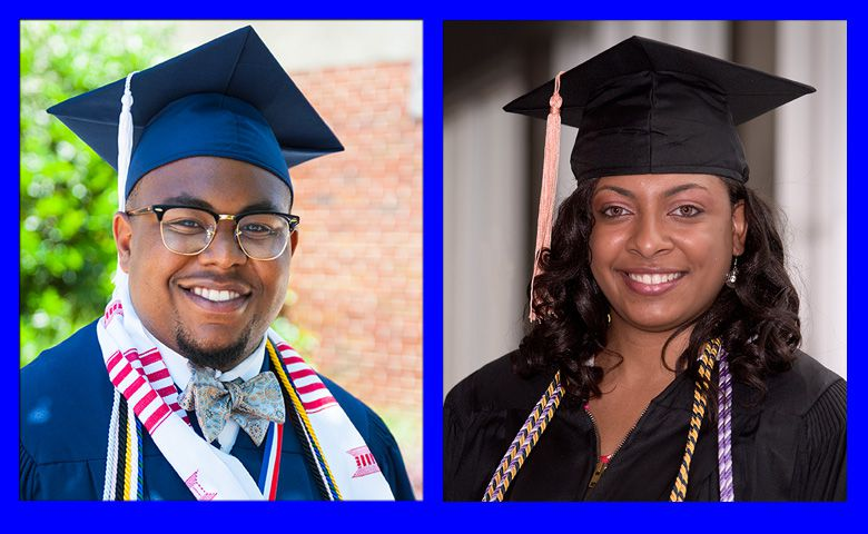 Logan Wilson and Davelin Woodard at their respective commencements.