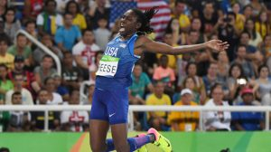 Brittney Reese (USA) during the women's long jump final in the Rio 2016 Summer Olympic Games at Estadio Olimpico Joao Havelange. Mandatory Credit: Kirby Lee-USA TODAY Sports