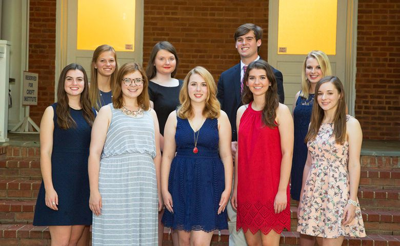 The Croft Institute for International Studies welcomes scholars (Back Row left to right): Kylie Bring, Cristina Pendergrast, Joey Baker, (Front Row left to right): Emma Rice, Lauren Newman, Summer Caraway, Jessica Flynn and Olivia George