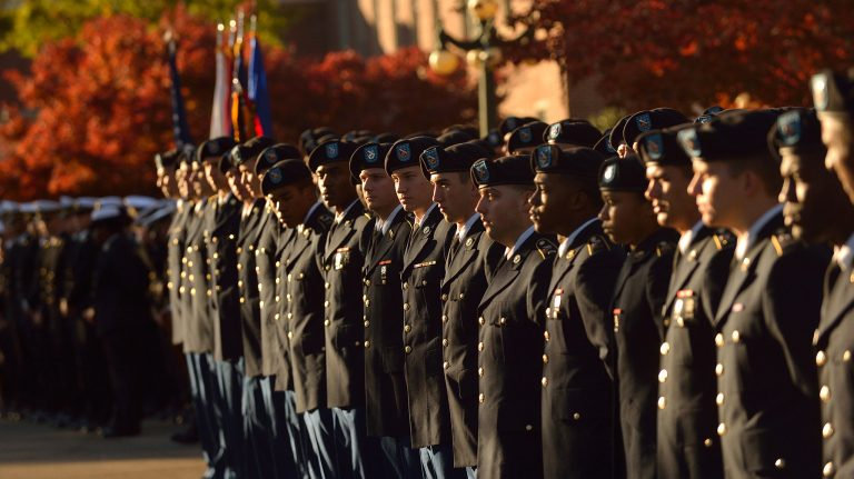 UM Army ROTC cadets stand in formation during a Pass In Review in front of the Lyceum. Photo by Nathan Latil Ole Miss Communications