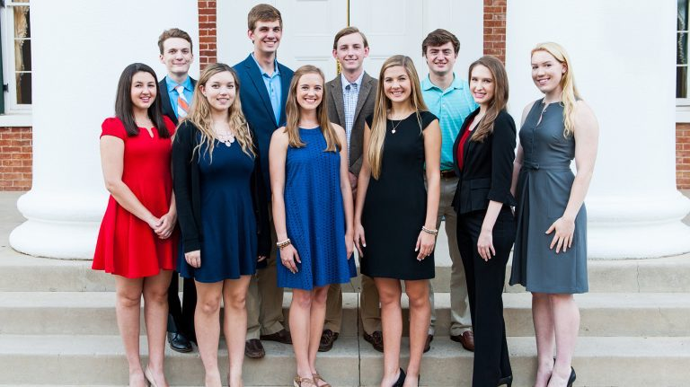 Among the 2017 recipients of the Stamps Scholarship at the University of Mississippi are (from left) Anna Daniels, James Asbill, Michaela Watson, R.G. Pickering, Nikki Sullivan, Ben Bradford, Sally Boswell, Tom Fowlkes, Summer Jefferson and Eveanne Eason. Photo by Bill Dabney