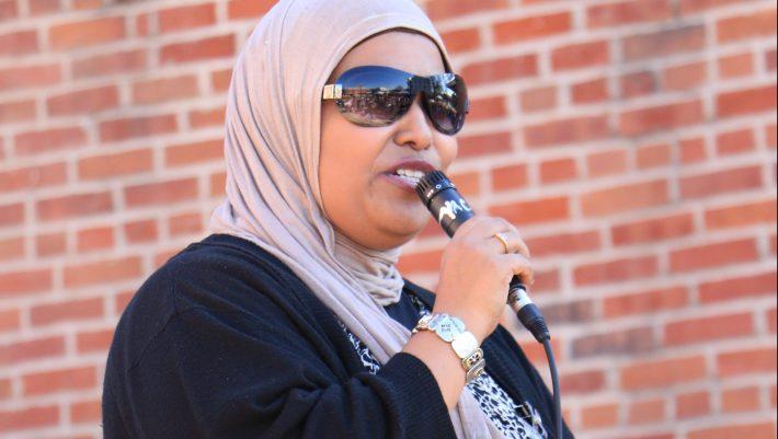 Asmaaa Taha speaks at the Meet Your Muslim Neighbors event held on the Square last month.