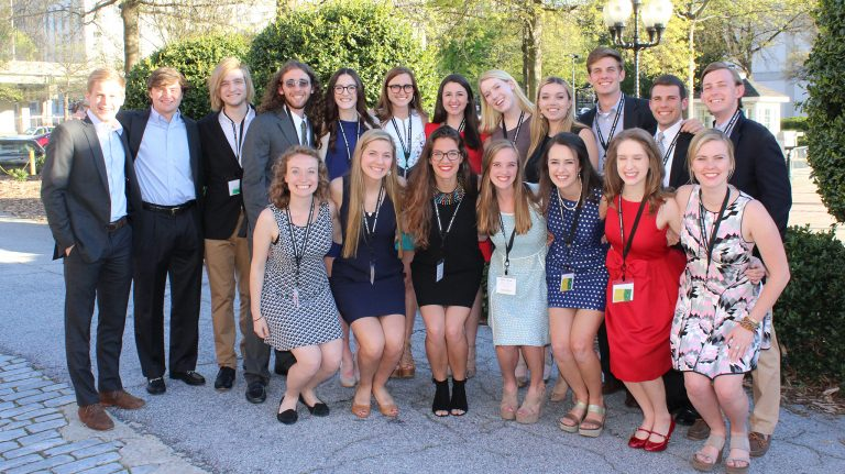 Among the 21 Stamps Scholars from UM who traveled to Atlanta for the 2017 Stamps Scholars National Convention are (front, from left) Madeleine Achgill, Sally Boswell, Kathryn James, Nikki Sullivan, Page Lagarde, Summer Jefferson and Eloise Tyner, and (back, from left) Ben Branson, Tom Fowlkes, Heath Wooten, Brendan Ryan, Kate Prendergast, Emily Tipton, Anna Daniels, Eveanne Eason, Michaela Watson, R.G. Pickering, Dylan Ritter and Ben Bradford. Submitted photo