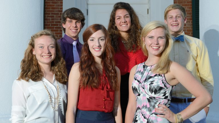 The inaugural cohort of Stamps Scholars at UM entered as 2013 freshmen. They are (from left) Madeline Achgill, Dylan Ritter, Kathryn Prendergast, Kathryn James, Eloise Tyner and Benjamin Branson. Photo by Kevin Bain/Ole Miss Communications