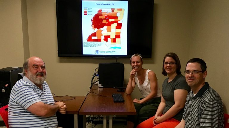 Meeting to discuss the Mississippi Health and Hunger Atlas in UM's Department of Sociology and Anthropology are (from left) Clifford Holley, Rachel Haggard, Anne Cafe and John Green. Submitted Photo