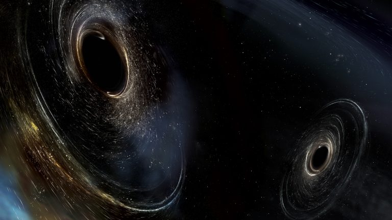 The black holes detected by LIGO are much more massive than any previously observed using X-ray telescopes. Here, two black holes spiral around each other just before merging into one massive black hole. Illustration courtesy LSC/Sonoma State University/Aurore Simonne
