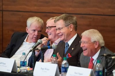 Chancellor Jeffrey Vitter (third from left) enjoys a humorous moment with (from left) Jim Barksdale, Jim Clark and U.S. Sen. Roger Wicker during the UM Technology Summit. Kevin Bain/UM Communications