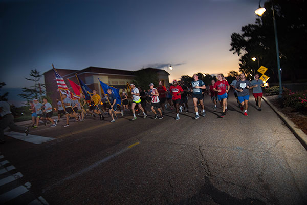 The University of Mississippi ROTC programs' 9/11 Memorial Run is set for Monday, Sept. 11, 2017 at 5:30 a.m. The event is annually held in remembrance of the victims of the Sept. 11, 2001 terrorist attacks on the United States. Photo by Kevin Bain/Ole Miss Communications