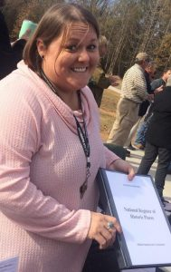 UM graduate student Nikki Mattson celebrates at the grand opening of the Batesville Mounds to the public. Submitted photo