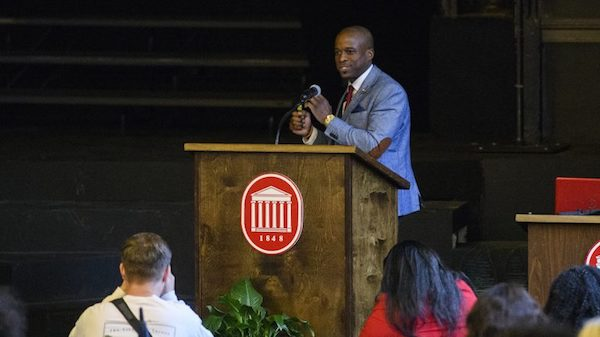 Southern studies and sociology professor Brian Foster delivers the keynote address for the UM Black History Month opening ceremony. Photo by Thomas Graning/Ole Miss Communications