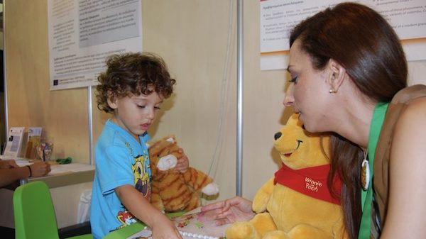 Christiana Christodoulou works with a participant in one of her language development research projects. Submitted photo