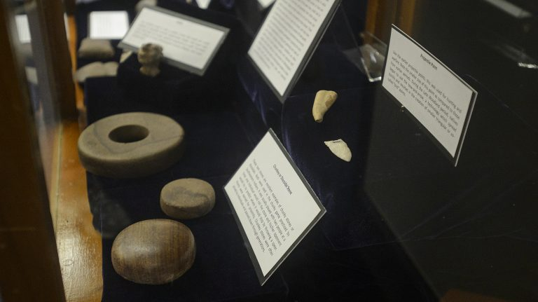 The artifacts, which span 10,000 years of native life in Mississippi, will be available for viewing throughout the summer. Photo by Marlee Crawford/Ole Miss Communications
