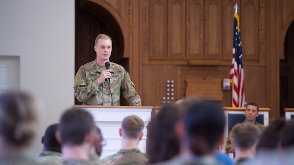 "Army ROTC Cadet Donald Lorbecke speaks during the recent Cadet 'Change of Command"" ceremony. Photo by Kevin Bain"