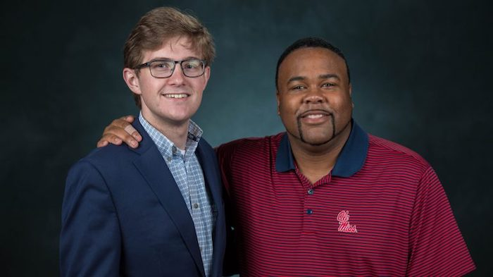 Graduating senior public policy leadership major Seth Dickinson (left), and Assistant Engineering School Dean Ryan Upshaw plan to remain friends after commencement. Kevin Bain