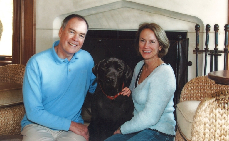 Ken and Carol Lackey at home with Hunter