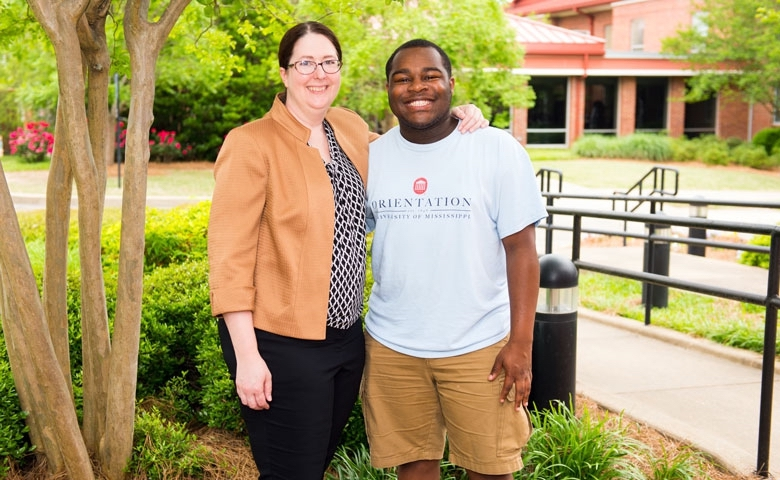 Maura Scully Murry, left, the new FASTrack director, will work with peer leader and rising sophomore Mister Clemons and others in the FASTrack program, as student participants benefit from a close-knit academic community within the larger University of Mississippi community. The McMullan Family Foundation is supporting this highly successful program.