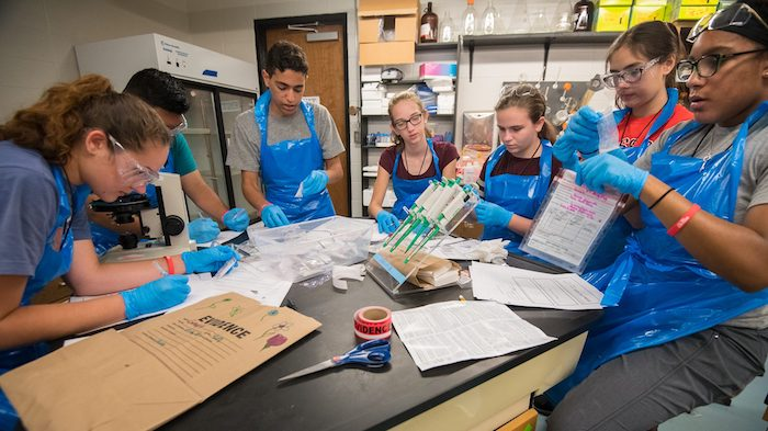 Participants in CSI summer camp practice lifting fingerprints from objects. The camp, for middle and high school students, is hosted by the forensic chemistry program in the UM Department of Chemistry and Biochemistry and the Division of Outreach and Continuing Education.