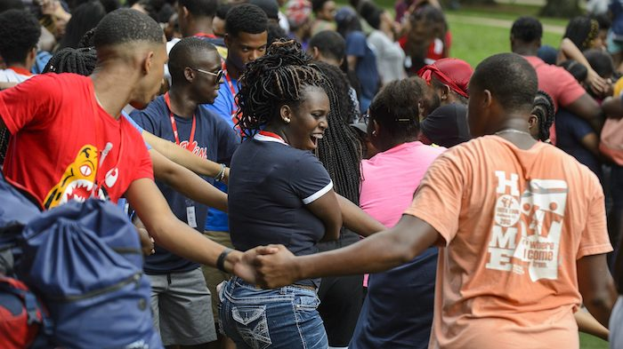 By participating in interactive team building activities, students are empowered and learn valuable lessons during the 2018 Mississippi Outreach to Scholastic Talent Conference. Photo by Marilee Crawford