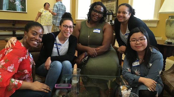 Participants in the Summer Course on Grant Writing in the Social, Behavioral and Economic Sciences gather to socialize and discuss one another's work. The group includes (from left) Nicole Jones, of the University of Missouri; Jessica Kizer, Pitzer College; ReAnna Roby, Michigan State University; Stacey Greene, Rutgers University, and Zhiying Ma, University of Michigan.