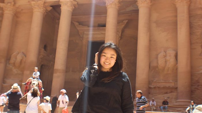 Emily Wang, a junior in the Croft Institute, visits the ancient city of Petra while completing an intensive language institute program in Amman, Jordan, this summer.
