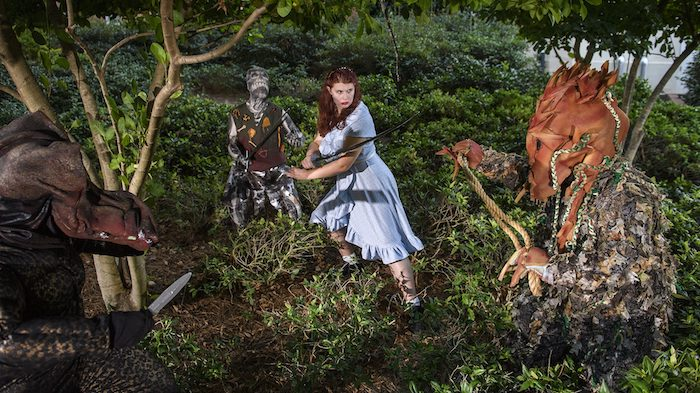 UM senior Sydney Hanson (center) stars as Agnes, a woman who enters an imaginary world of dragons and other creatures to learn more about her late sister, in 'She Kills Monsters,' which opens Friday (Sept. 28) as the first production of the Department of Theatre and Film's 2018-19 season. Photo by Thomas Graning/