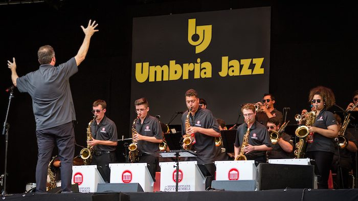 The Mississippians perform at the Umbria Jazz Festival this summer in Perugia, Italy, as part of the group's European tour. The group includes (from left) Asher Mitchell, Tyler Hewett, Christopher Scott, Ryne Anderson and Courtney Wells on saxophone.