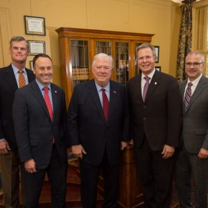 The University of Mississippi will soon be home to the Haley Barbour Center for the Study of American Politics. From left, John Bruce, chair and associate professor of political science; Lee Cohen, dean of the College of Liberal Arts; Haley Barbour, former governor of Mississippi; Jeffrey S. Vitter, UM Chancellor; and Noel Wilkin, provost and executive vice chancellor. Photo by Kevin Bain