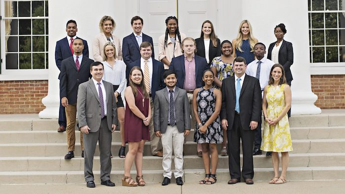 The University of Mississippi's McLean Institute for Public Service and Community Engagement welcomed a new group of outstanding students from around the globe this fall, representing majors from across the university. First row from left, Albert Nylander, Hannah Newbold, Navodit Paudel, Kristina Fields, J.R. Love, Laura Martin; second row from left, Michael Mott, Allison Borst, Zachary Pugh, Joshua Baker, Kendall Walker, Curtis Hill; third row from left, Bryce Williams, Elena Bauer, Adam Franco, Arielle Rogers, Virginia Parkinson, Anna Katherine Burress, Ashley Bowen.