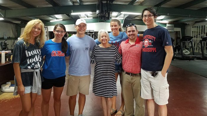 Judy Bland (center), executive director of the Marks Project, meets with UM students (from left), Sydney Mitchell, Payton Meadoes, Kym Gordon, Cole Corek, John Haynes and Adam Cuff.