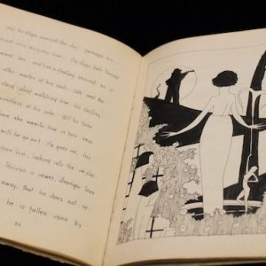 One of six original copies of the script for William Faulkner's play 'The Marionettes' is on display in the J. D. Williams Library. The play is written, illustrated and hand-bound by Faulkner, who sold the books for $5 on the Ole Miss campus to raise money for the drama club, The Marionettes. Photo by Katherine Stewart