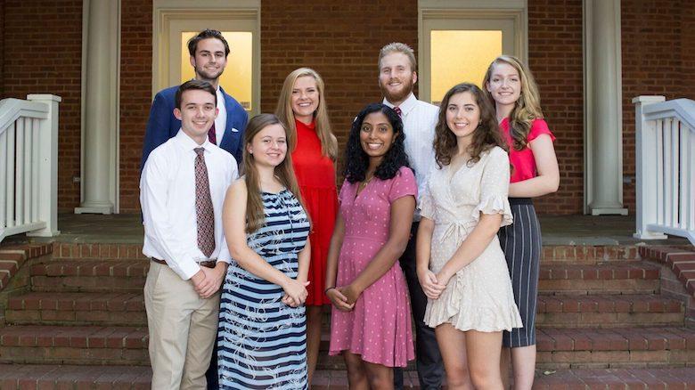 The 2018 UM Croft Scholars are (front, from left) David McDonald, Emma Lane, Akshaya Vijayasankar and Delaney Smith, and (back) Jess Cooley, Olivia Jaramillo, Reed Peets and Ava Cooper.