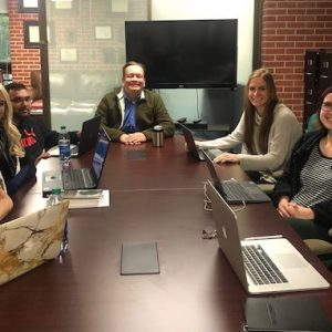 Students enrolled in the UM Disaster Sciences minor program meet with Stefan Schulenberg (center), professor of psychology and director of the Clinical-Disaster Research Center. The students are (from left) Courtney Pomfrey, Mikaela Raley, Sunny Patel, Calli Holland, Emily Gawlik and Phoebe Lavin. All the students except Raley, a first-year graduate student, are undergraduate student research assistants.