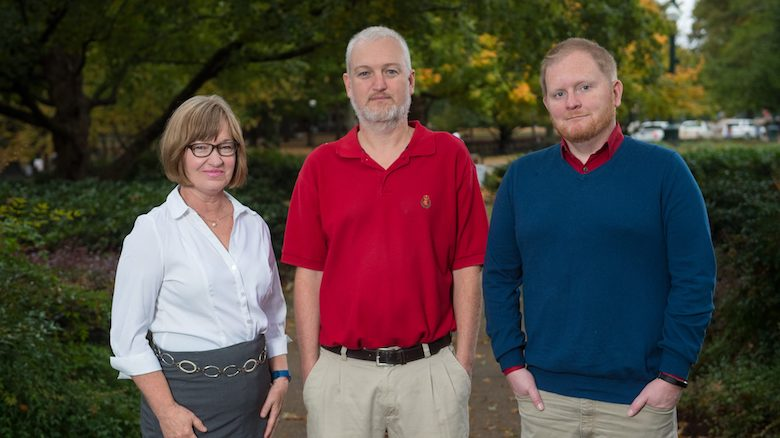 UM faculty members Karen Forgette (left), Guy Krueger and Andrew Davis have won the Digital Learning Innovation Award from the Online Learning Consortium. Photo by Kevin Bain