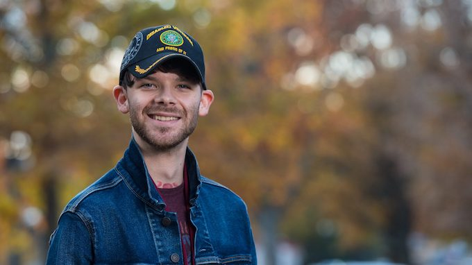 Nicholas Roylance is a theatre arts major at the University of Mississippi, a disabled military veteran and a member of Walkers for Warriors, a nonprofit organization that raises money for military veteran students at Ole Miss. Photo by Kevin Bain
