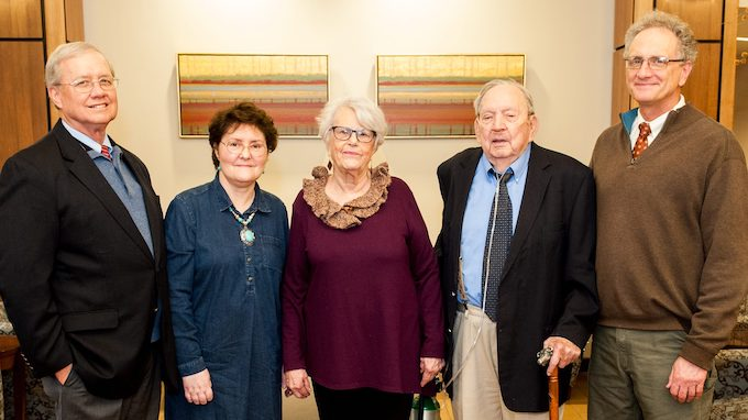 Ron and Jody Wilson (from left) have made a gift to the UM Sally McDonnell Barksdale Honors College in honor of Mary Lou and Harry Owens. Representing the Honors College is the dean, Douglass Sullivan-Gonzalez.